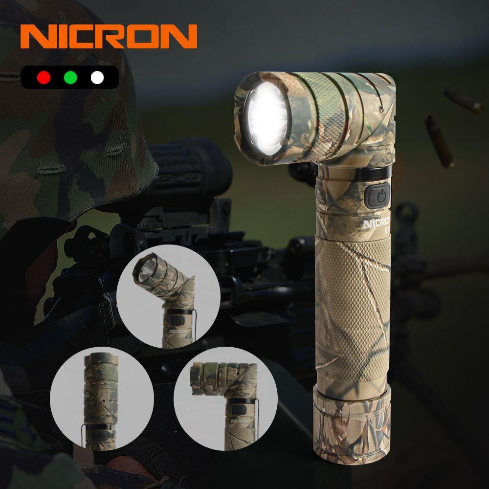 NICRON 3-Farbe Licht 90 Grad Camo Wiederaufladbare Twist Taschenlampe Mit 360 Rotary Clip 18650 Wasserdichte 950LM LED Taschenlampe b70 Plus