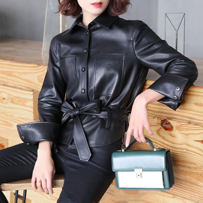Genuine Leather Jacket for Women Candy Color Real Sheep Leather Jacket Hollow Back gl0113
