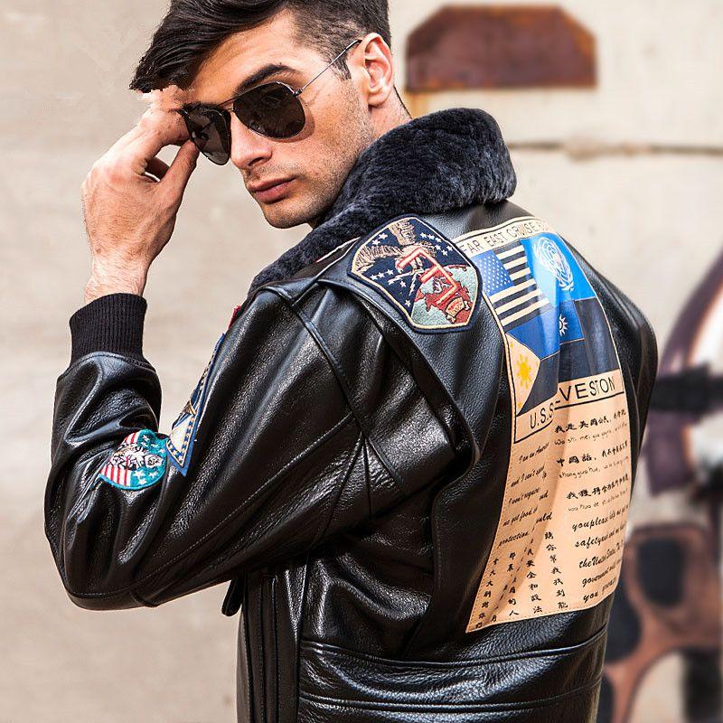 2018 Men Black Top Gun Leather Pilot Jacket Plus Size 3XL Wool Collar Genuine Cowhide Military Leather Pilot Coat Can Customized