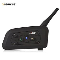 VnetPhone V6 Motorcycle Helmet Bluetooth Intercom 6 Riders Auriculares intercomunicador Moto Bluetooth Support Music bts2