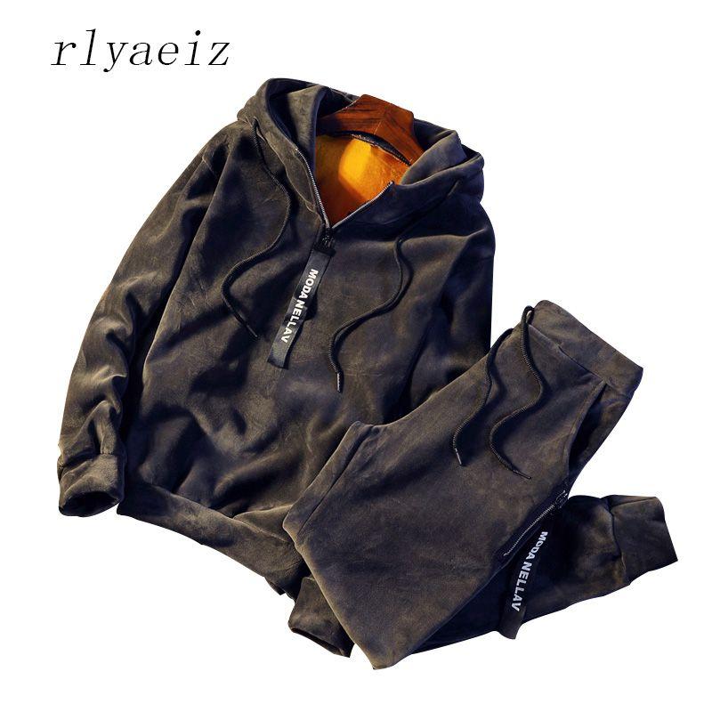 Rlyaeiz Male Sporting Suits Autumn Winter Hot Tracksuit Thicken Men's Sportswear Sets Fleece Warm Hoodies + Pants Two Piece Sets