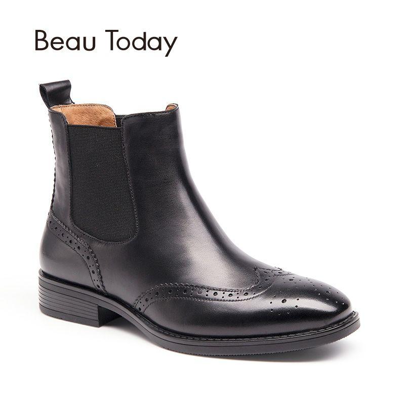 BeauToday Richelieu Chelsea Bottes Femmes Top Qualité En Cuir Véritable de Bout D'aile Marque Veau Bout Carré Cheville Chaussures À La Main 03026