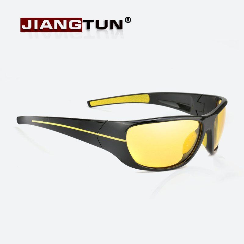 JIANGTUN New Night Vision Sunglasses Men Brand Designer Fashion Polarized Night Driving Enhanced Light At Rainy Cloudy Fog Day