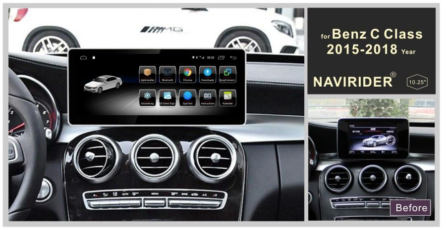 Touchscreen Auto Android 8.0 Radio Player für Benz C GLC V Klasse 2015-2018 stereo 8Core Gps Navigation bluetooth mit NTG Menü