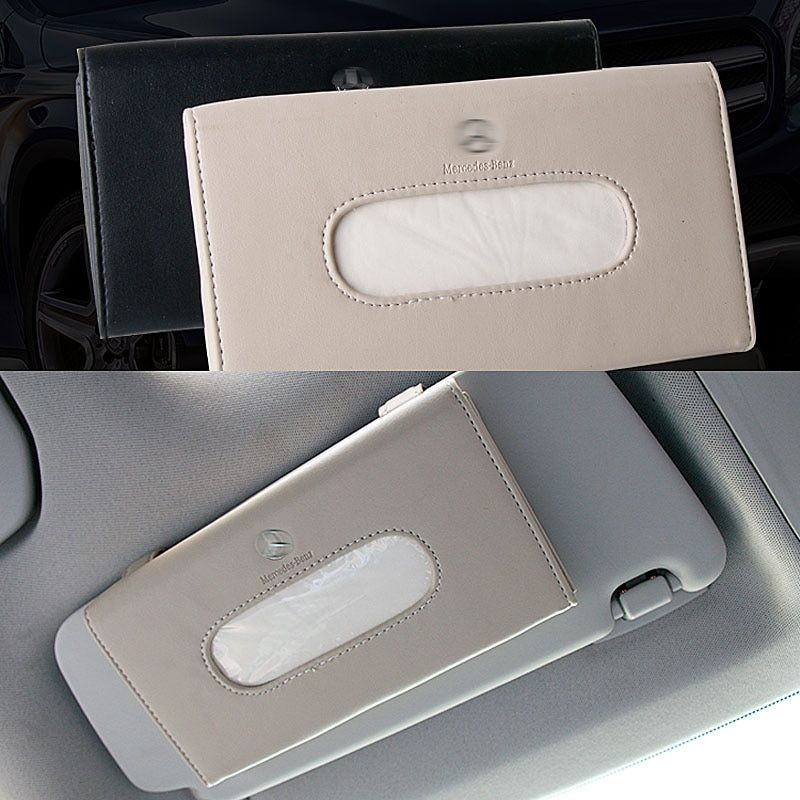 High Quality Car Sun Visor Hanging Leather Tissue Box For Mercedes Benz Dedicated Tissue Box Auto Interior Decoration Accessorie