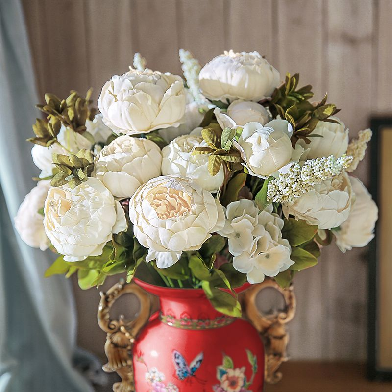 13 Branches Peony flowers artificial flower Vintage Wedding Silk Artificial Flowers For Home <font><b>Festival</b></font> Decoration CHENCHENG