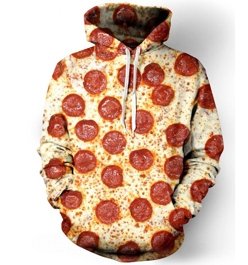 Harajuku Sweat À Capuche Femmes Hommes Pepperoni Pizza/Hamburger/Beignets 3D À Capuche Survêtement Pull alimentaire impression jumper