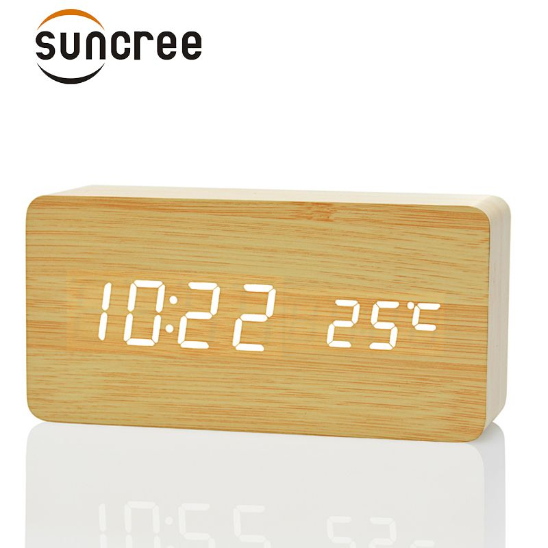 Suncree Wooden Digital LED Alarm Clock reloj despertador Sound Control <font><b>Temperature</b></font> Electronic Desk Table desktop Clock