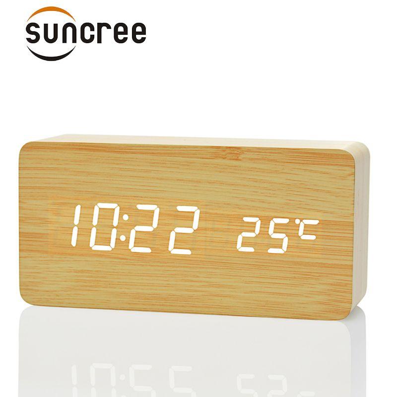 Suncree Wooden Digital LED Alarm Clock reloj despertador <font><b>Sound</b></font> Control Temperature Electronic Desk Table desktop Clock
