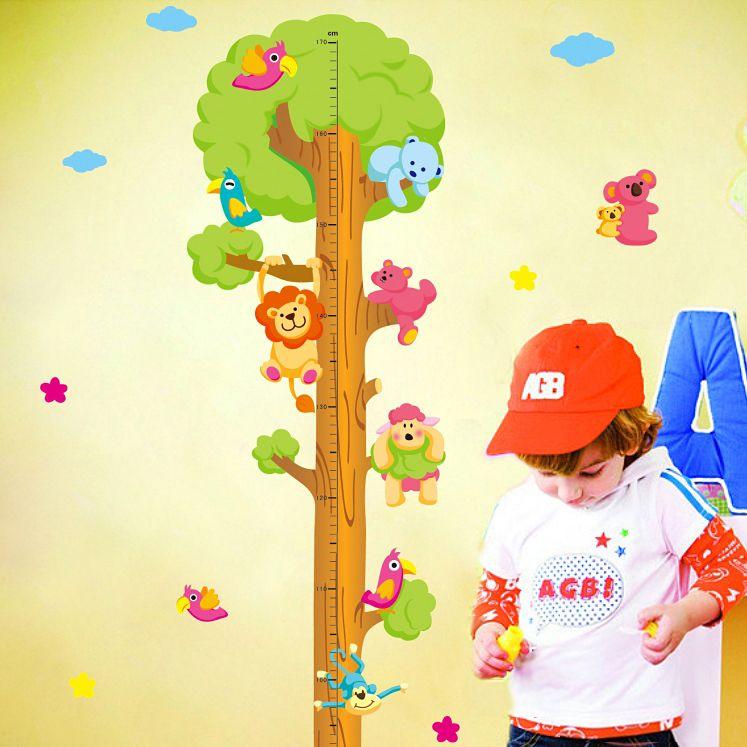 Enfants enfant hauteur tableau mesure ruban Stickers muraux naturel Animal arbre vinyle papier peint maison décoratif décalcomanies amovible