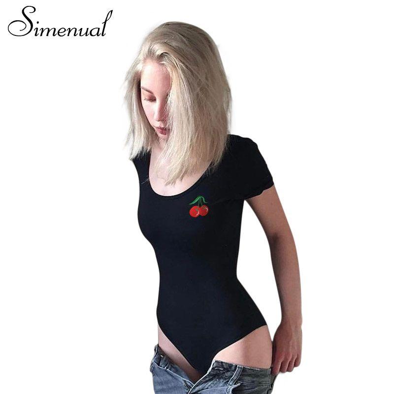 Simenual вишня вышивка Комбинезоны тела Лето Фитнес сексуальное боди Женщины с коротким рукавом черный Боди Бинт комбинезон женские