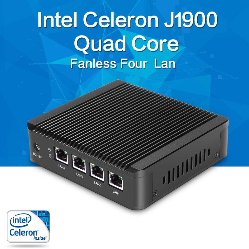 Fanless Mini PC J1900 Quad-core 4 * LAN Intel Gigabit Ethernet Routeur Pare-Feu Pfsense Client Léger Windows Nettop linux RouterOS