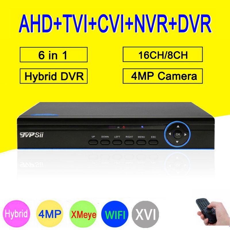 Blue Panel Hi3531A 4MP 16CH 16 Channel 6 in 1 WIFI Hybrid TVi CVI NVR AHD CCTV DVR Surveillance Video Recorder Free Shipping