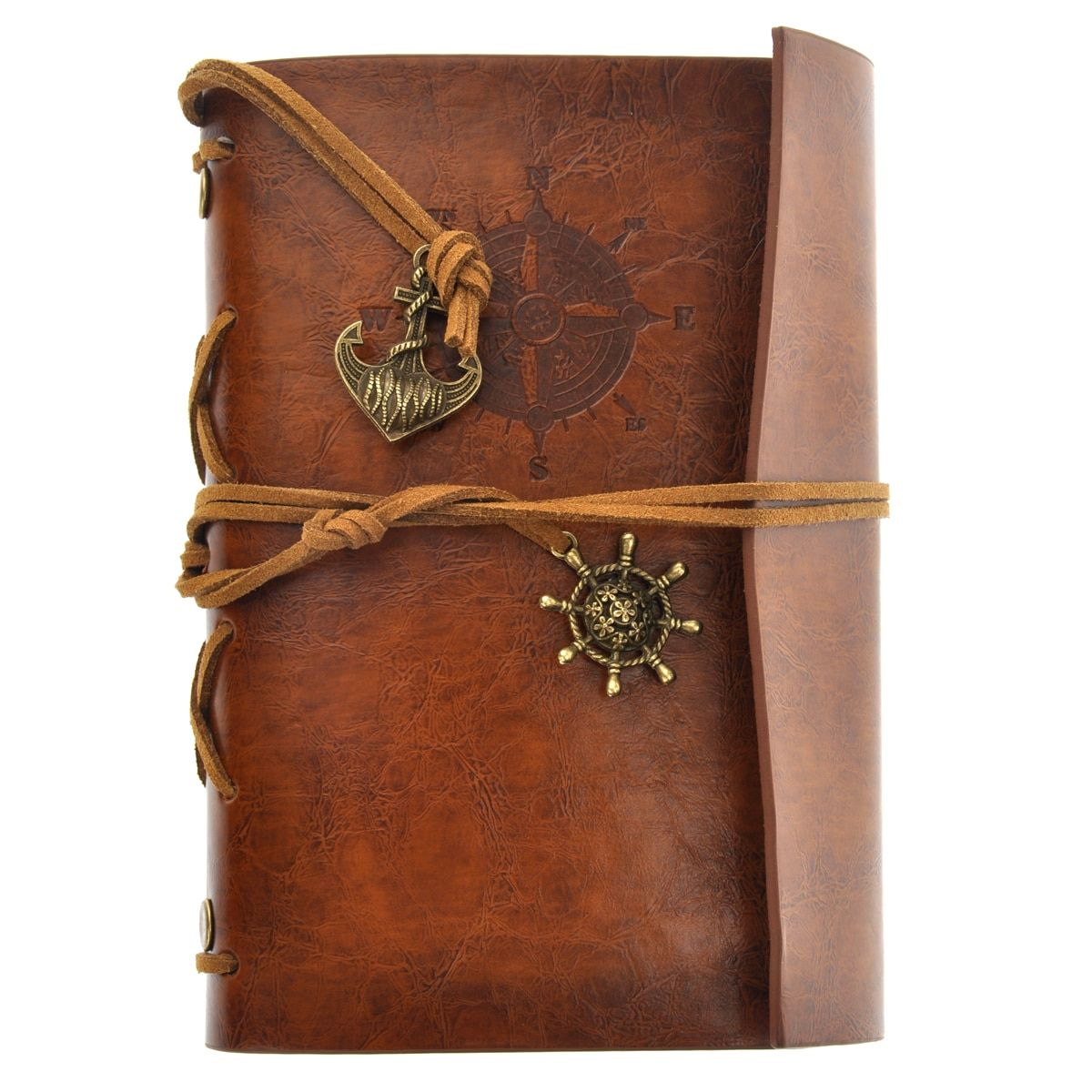 Retro Vintage Pirate Anchor PU Cover Loose-leaf String Bound Blank Notebook Notepad Travel Journal Diary Jotter (Brown)