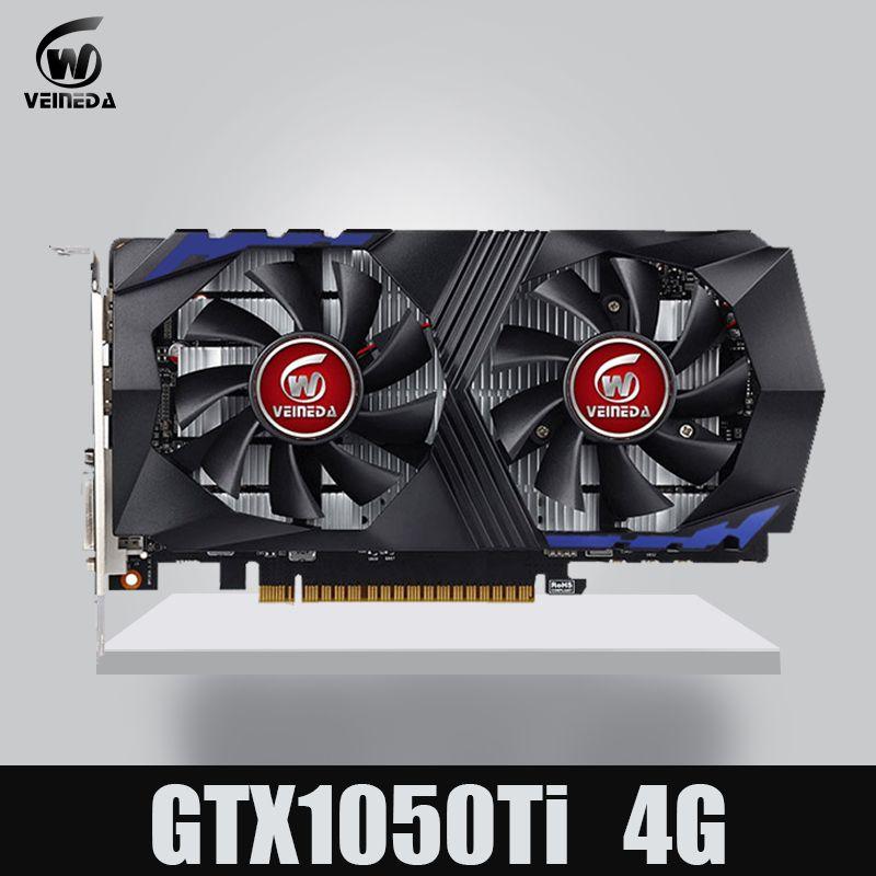 Carte vidéo VEINEDA pour carte graphique d'ordinateur PCI-E GTX1050Ti GPU 4G DDR5 pour jeu nVIDIA Geforce