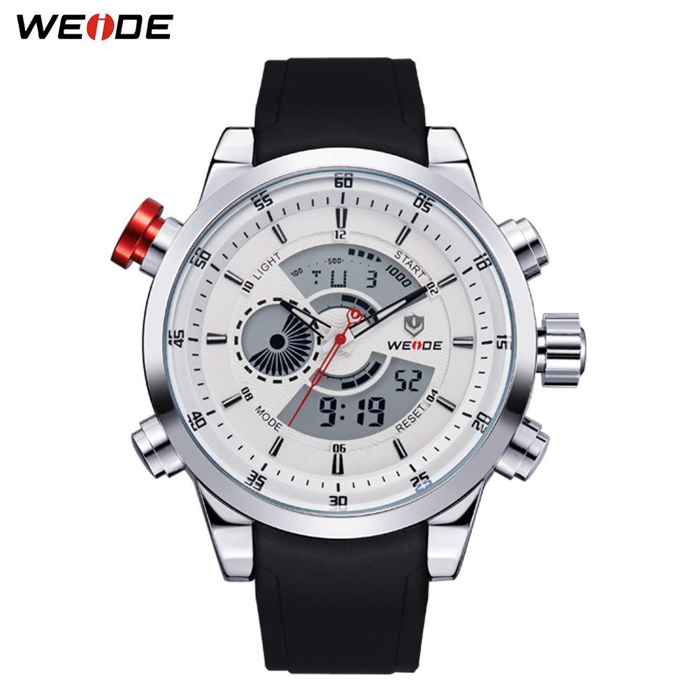 WEIDE militaire hommes chronomètre sportif noir bracelet en cuir synthétique polyuréthane alarme répéteur calendrier étanche Quartz horloge montre-bracelet Relogio Masculino