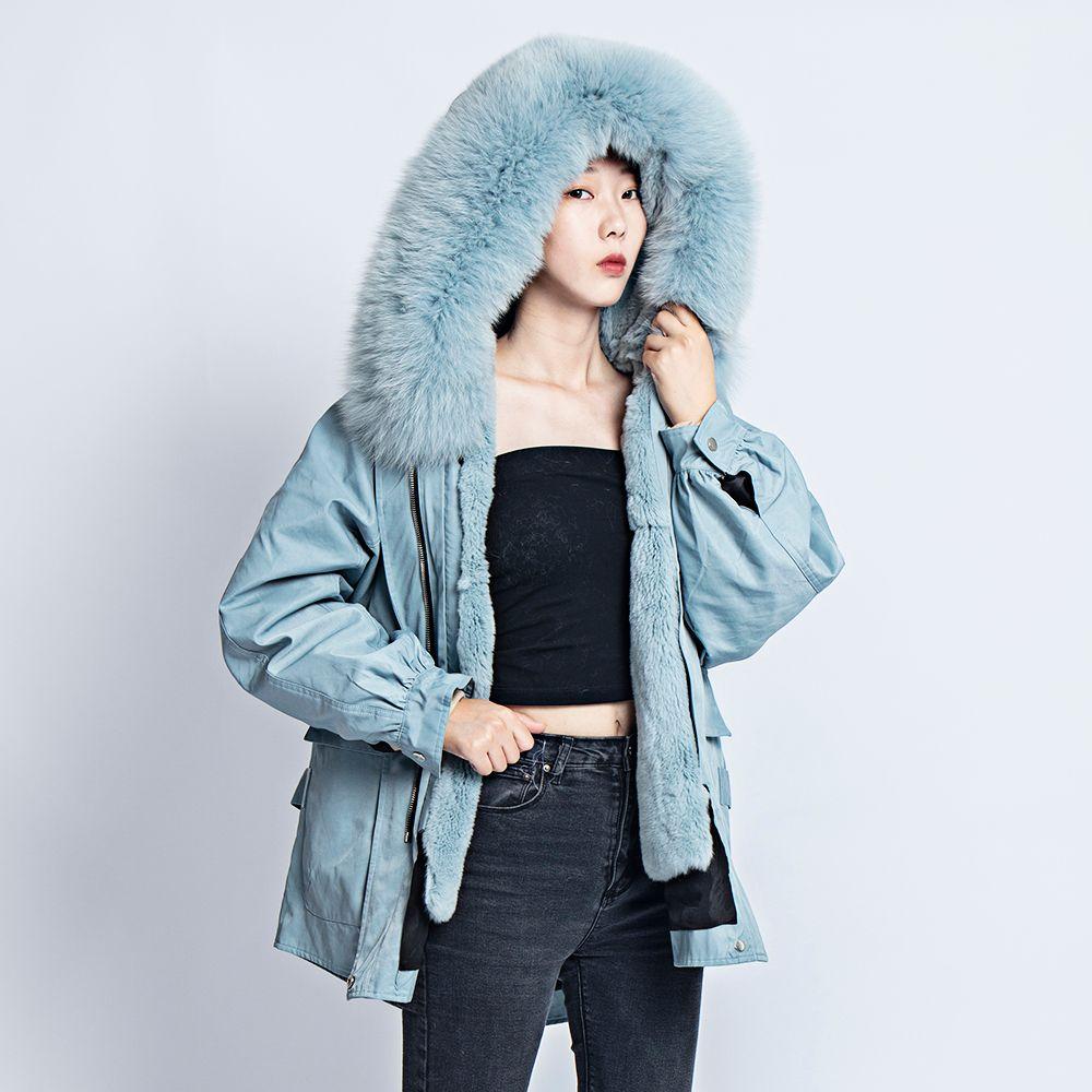 Kurze jacke weiblichen mantel winter 2019 bluse echt kaninchen fuchs pelz parka große größe kälte kleidung kawaii mantel und jacken frauen