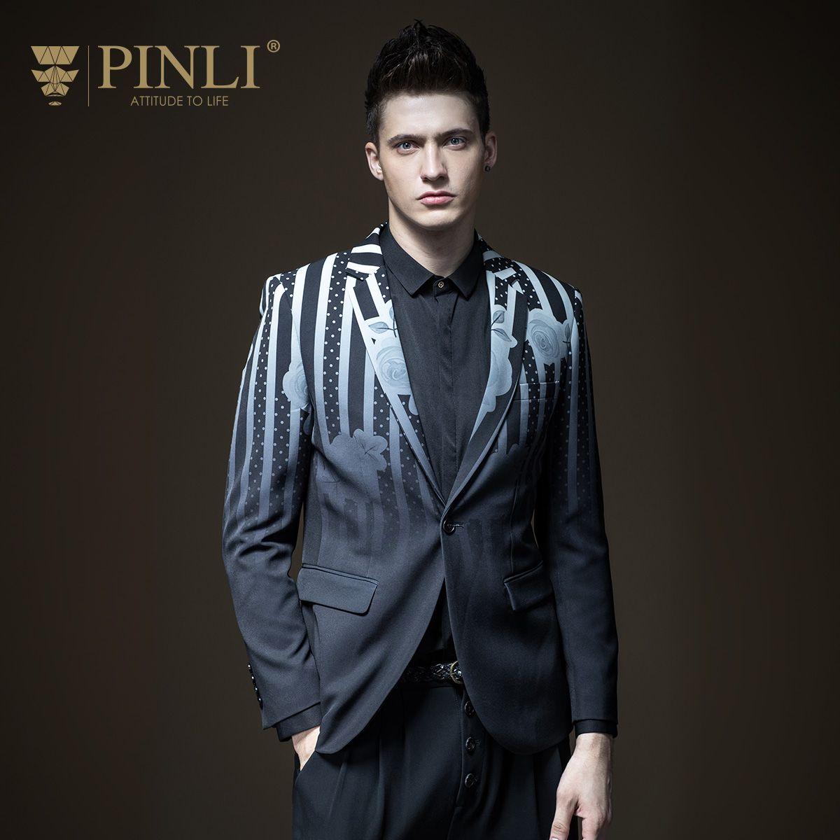 Costume Homme Pinli Product Set Printing Business And Leisure Suit Men's Coat Of Cultivate Morality B173306167 Autumn Fashion