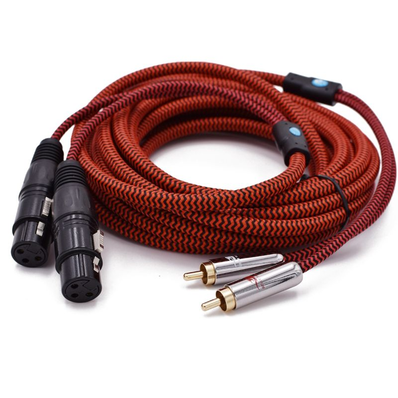 Double XLR Femelle à Double RCA câble audio pour Console De Mixage Amplificateur de Audiphile 2 RCA à 2 XLR 3 Pin Câble OFC 1 M 2 M 3 M 5 M 8 M