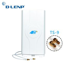 Dlenp 4G LTE MIMO Antenna 700-2600Mhz With 2- TS9 Male Connector Booster Panel Antenna with 2 meters Cable 88dBi