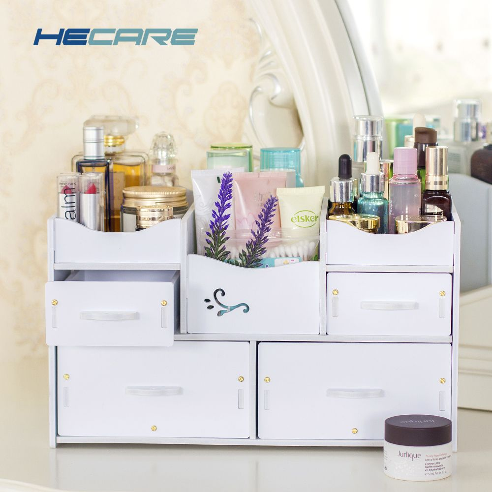 HECARE Plastic Makeup Organizer Waterproof Cosmetic Container Jewelry Container for Cosmetic High-capacity Make Up Storage Case