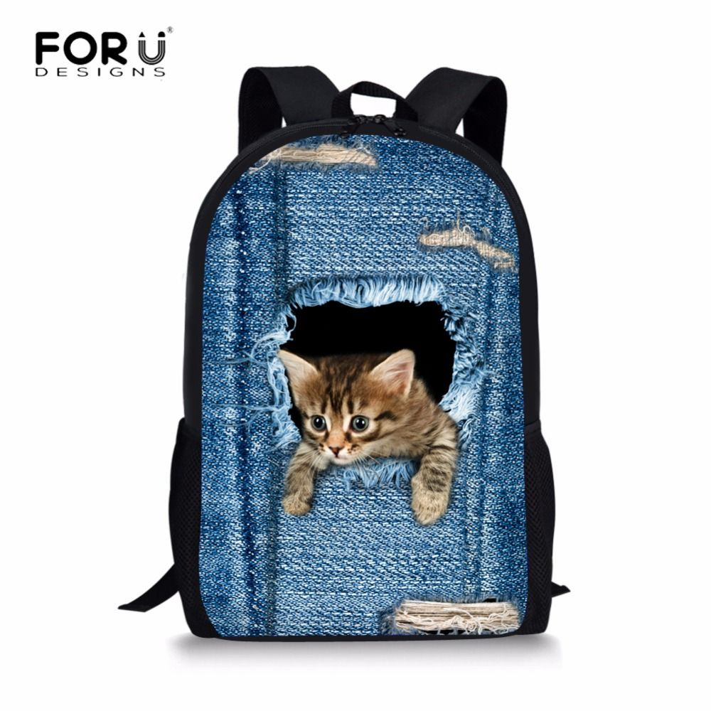 FORUDESIGNS Cat Backpack Cute 3D Animal Denim Backpacks for Children Boys Girls Casual Kids School Bag Mochila Travel Backpack
