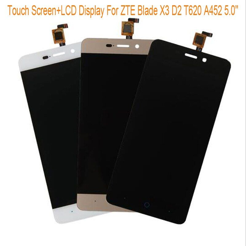 Black/White/Gold LCD Display+TP For ZTE Blade X3 D2 T620 A452 5.0'' LCD Display+Touch Screen Touch Panel Digitizer Assembly