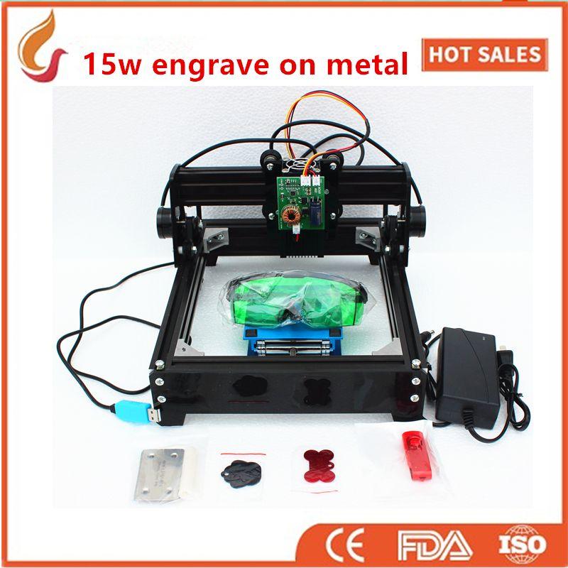 15 Watt laser graviermaschine, große power laserengraver, metall carving kennzeichnung maschine, DIY metall graviermaschine markierung auf hundemarke
