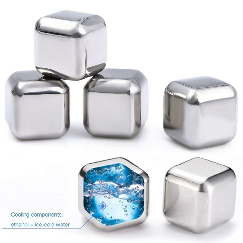 4/6/8X STAINLESS STEEL whiskey Ice Stones Set Drinks Beer Cooler Cubes Rocks Granite Pouch Cubes/Balls/Diamond/Heart Shape