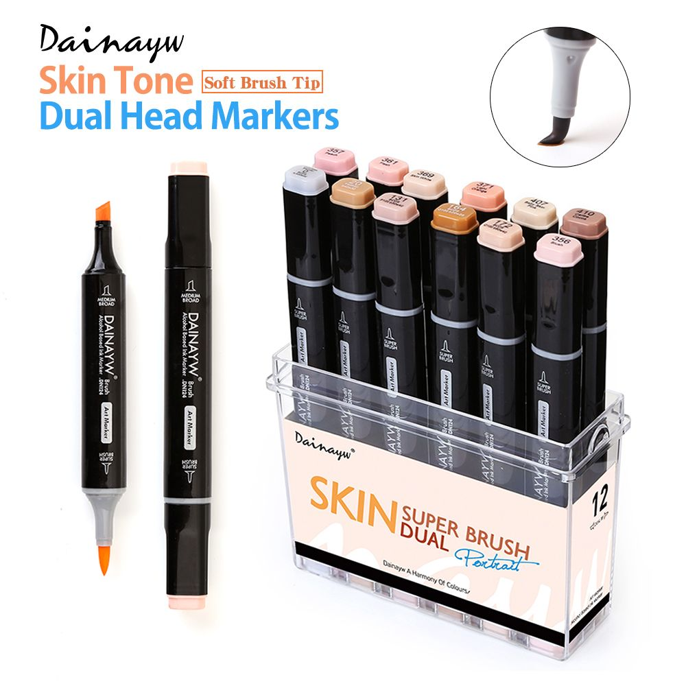 12 Colors Skin Tones <font><b>Soft</b></font> Brush Markers Set Alcohol Based Sketch Marker Pen For Manga Professional Drawing Art Supplies