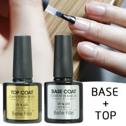 Base Et Top Coat Transparent UV Gel Vernis À Ongles 10 ml Soak Off Longue Amorce Durable Laque Nail Manucure Vernis Semi Permanent