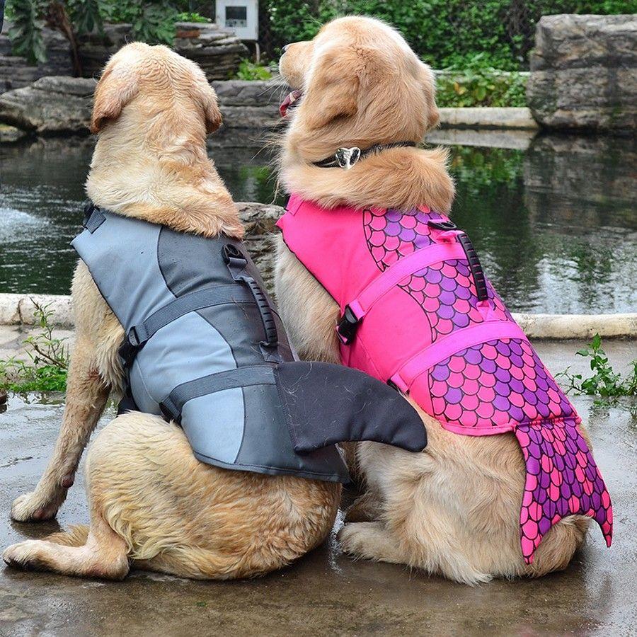 Gilet de sauvetage pour chien vêtements de sécurité gilet de sauvetage collier harnais économiseur chien de compagnie maillot de bain d'été requin sirène