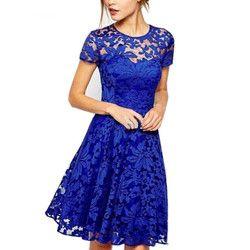 5XL más el vestido elegante de la manera de las mujeres Hallow out LACE vestido princesa partido atractivo Delgado verano vestidos rojo azul