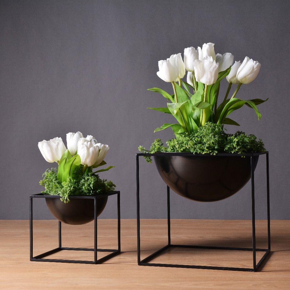 Черный/белый современные настольные Водонепроницаемый Cube металла цветочного горшка беседками посадки в помещении цветок Карликовые дерев...