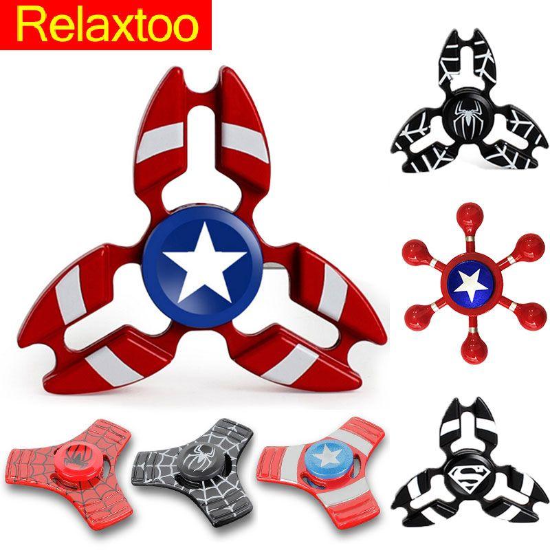 New Super Héroe Mano EDC Fidget Metal spinner Spiner Ironman Spiderman Capitán América Para La Ansiedad Adultos Dedo Puzzle Juguetes Gyro