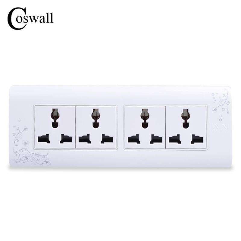 COSWALL prise universelle Style bref prise électrique murale multi-fonction 12 trous prise de courant avec porte de protection enfant