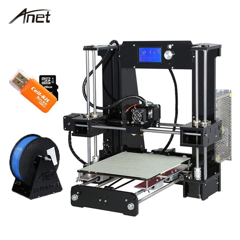 Анет A6 Desktop 3D-принтеры комплект большой Размеры Высокая точность RepRap Prusa i3 DIY 3D-принтеры Алюминий очаг подарок нити 16 г sd карты