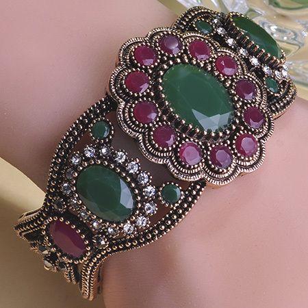 2015 Luxurious Turkish Secret Bracelets Bangles Pulseiras Pulseras Mujer Masculina Femininas Bijuteria Oso Red Vintage Jewelry