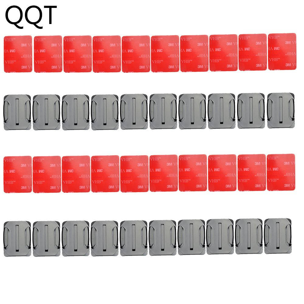 QQT 40 pcs / set 20 pcs Curved Surface Mount Base + 20 pcs 3 M Adhesive For Gopro Hero 6 5 4 3 + for Xiaomi Yi for SJ4000 GT14-3