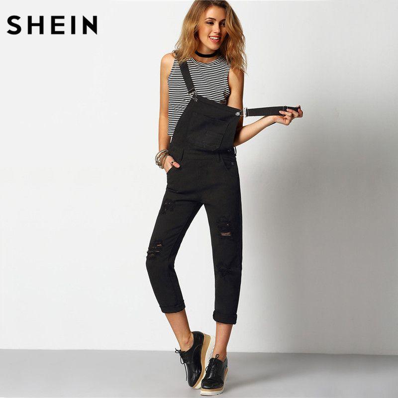 SHEIN Women Jumpsuit Denim Overalls <font><b>2016</b></font> Spring Autumn Black Strap Ripped Pockets Full Length Denim Jeans Jumpsuit