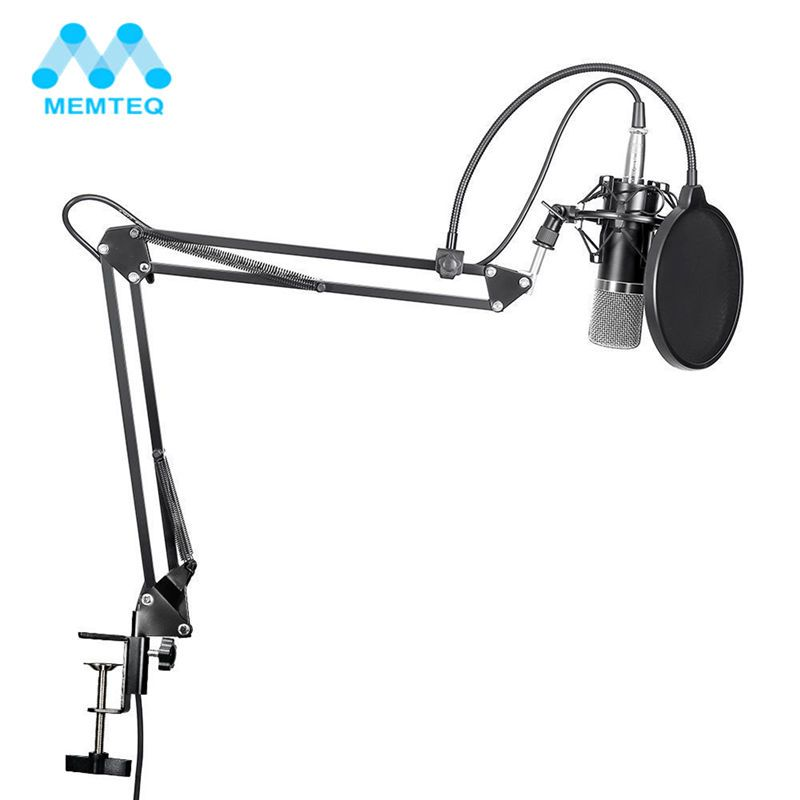 MEMTEQ NW-700 Professional <font><b>Studio</b></font> Broadcasting Recording Condenser Microphone Kit With Microphone Stand And Shock Mount New