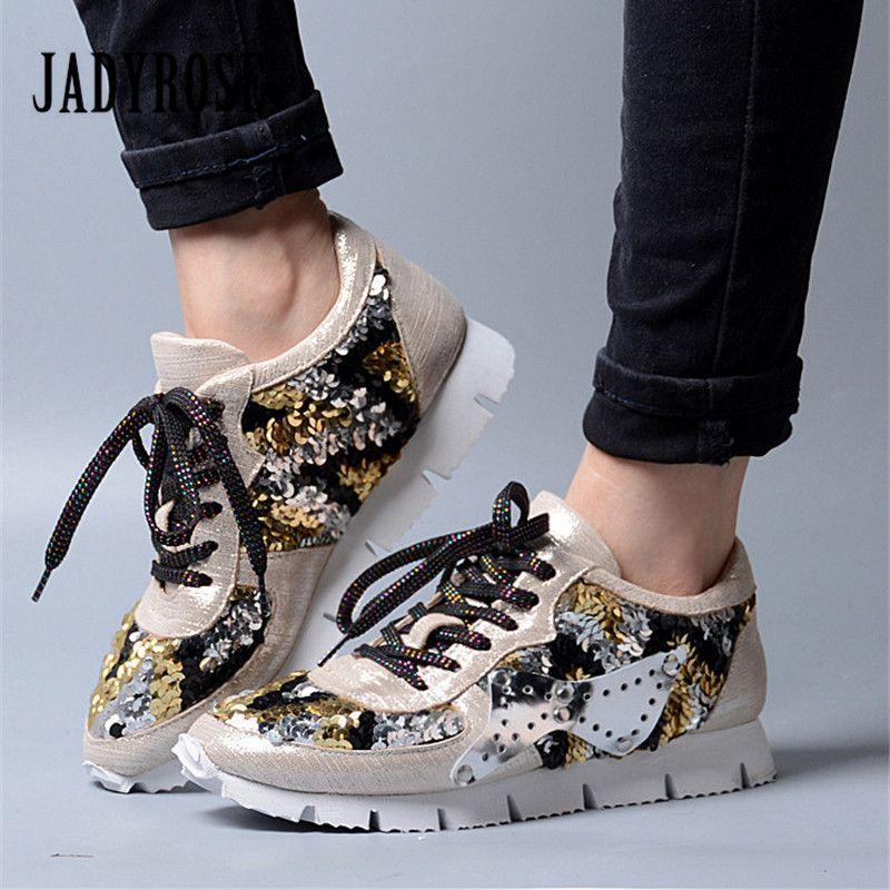 Jady Rosa Bling de Las Mujeres de Encaje Hasta Zapatillas de Plataforma Plana Zapatos de Mujer Tenis Feminino Creepers Zapatos Alpargatas Ocasionales Femeninos