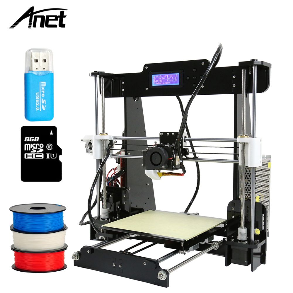2017 Hot sale Anet A8 3D Printer reprap prusa i3 cheap desktop DIY 3d printer kit with free filament 8G SD Card impresora kit