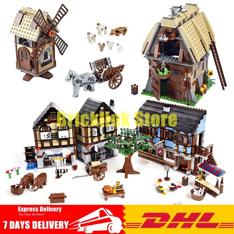 2018 DHL Lepin 16011+16049 The Medieval Manor Castle+The Mill Village Raid Building Blocks Bricks Toys Clone 10193 7189