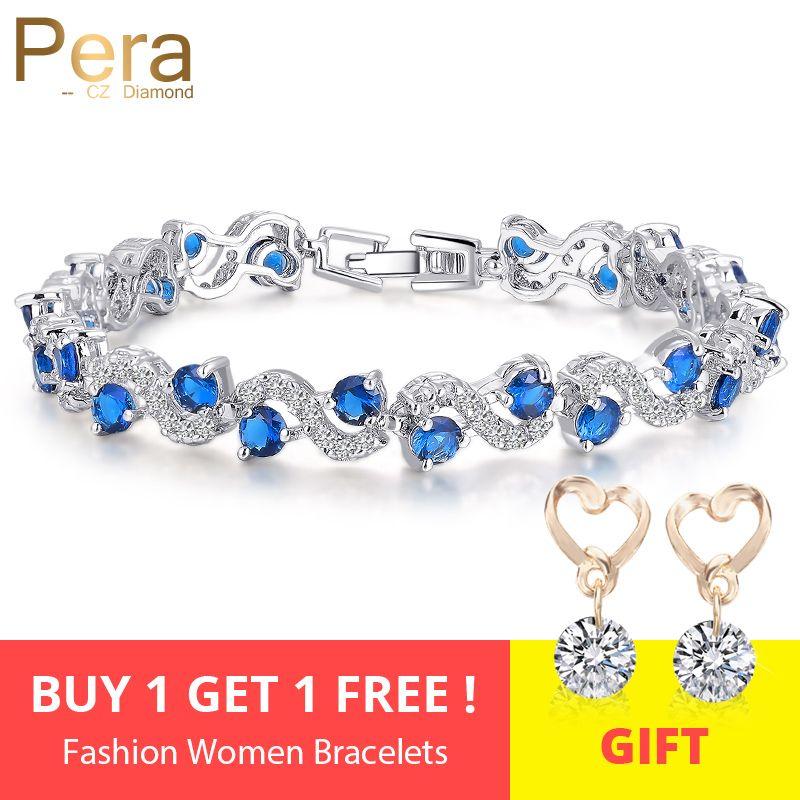 Pera 5 Options de Couleur Dames De Mode Sterling zircone cubique argenté Royal Bleu Pierre Bracelets Bijoux Pour cadeau de noël B017
