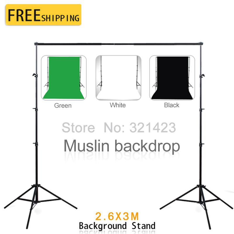 3*2M Green Black White Muslin Backdrops Cotton Chromakey 2.6*3M Background Support Stand Photography Studio Kit