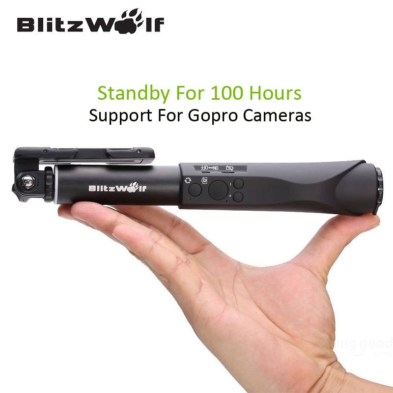 BlitzWolf Extendable <font><b>Bluetooth</b></font> Wire Wireless Selfie Sticks Monopod Universal For Samsung For iPhone 6 6S Plus For Smart Phone