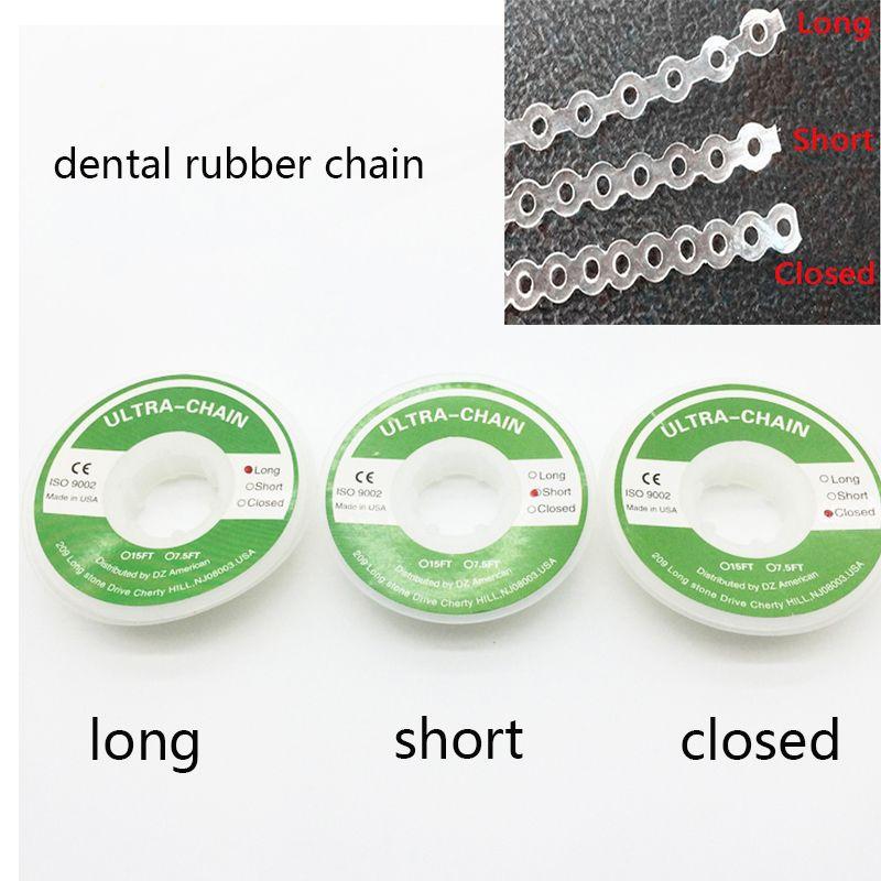 Produits dentaires orthodontiques élastiques en caoutchouc Ultra chaîne Transparent Transparent Type continu dentiste fermé/court/Long taille