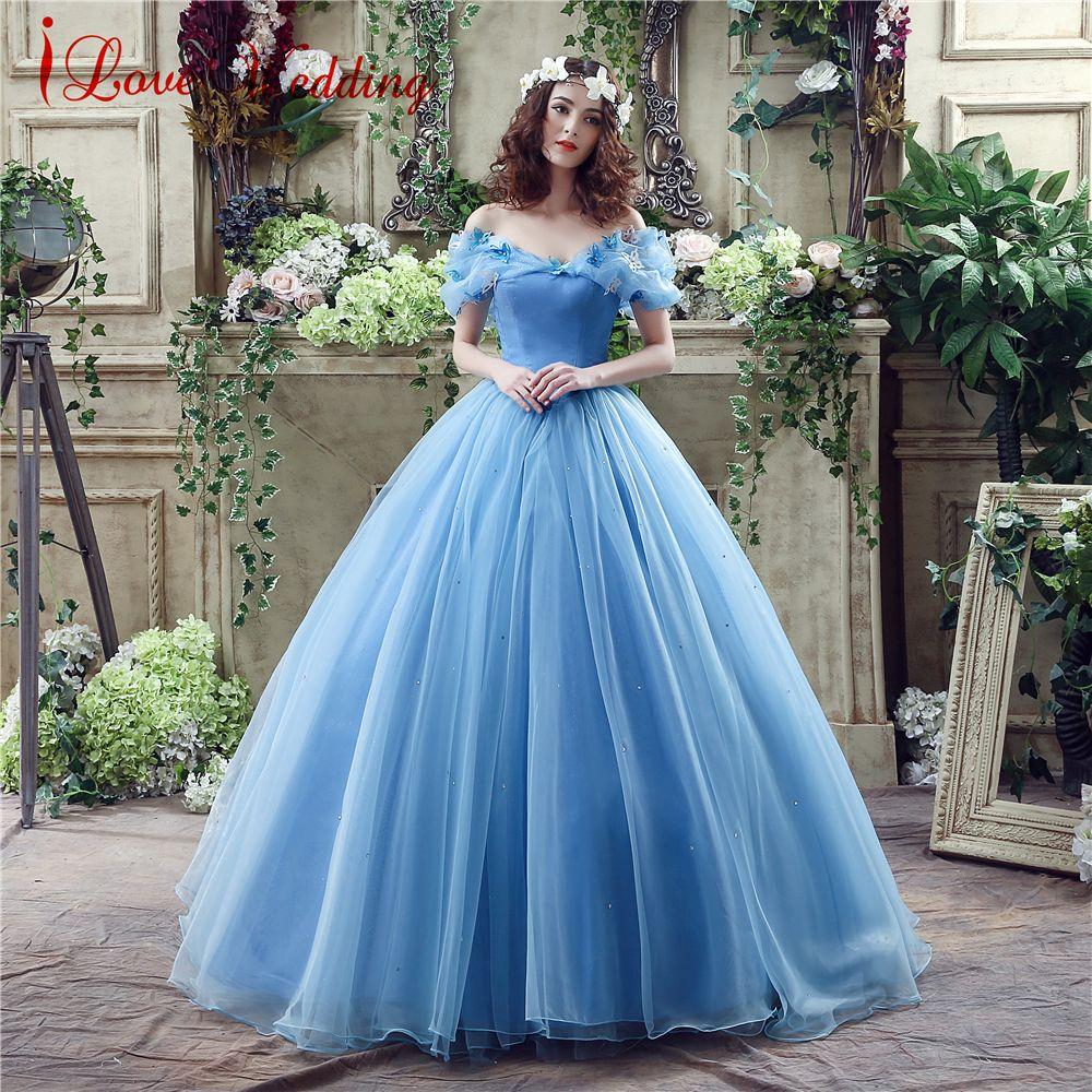 2019 Bleu robe de Bal robe de bal Nouveau Film Princesse Cendrillon robe de cosplay De L'épaule Organza Longue robe de bal