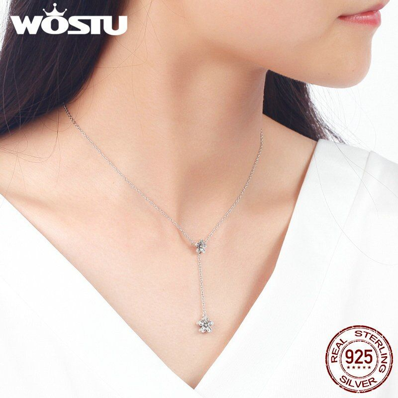WOSTU New Arrival 100% Real 925 Sterling Silver Daisy Love Pendant Necklaces For Women Luxury Brand Jewelry Lover Gift CRN019